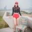 SM-V1-530 ชุดว่ายน้ำแขนยาวสีดำแต่งลายเส้น กางเกงเอวสูงสีแดงอมส้มนิดๆ thumbnail 4