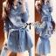 DR-LR-269 Lady Samantha Mickey Mouse Print Ribbon Denim Shirt Dress thumbnail 2