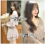 DR-LR-294 Lady Jane Classic Glam Smock Chiffon Dress in Beige thumbnail 7