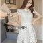 Lady Gabriela Crystal Embellished Flower White Lace Dress L263-8909 thumbnail 9