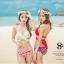 SM-V1-358 ชุดว่ายน้ำบิกินี่ทูพีช บราสีขาว+บิกินี่ลายดอกกุหลาบแดงสวย ๆ thumbnail 14