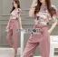 Lady Jennifer Floral Printed Top and Pink Ribbon Pants Set L260-7906 thumbnail 5