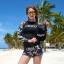 SM-V1-667 ชุดว่ายน้ำแขนยาว โทนสีดำ ลายสวย Love_XOXO thumbnail 8