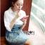 Lady Coco Cotton White Shirt with Denim Skirt Dress L202-69B10 thumbnail 9