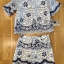 Lady Olivia Blue and White Flower Laser-Cut Cropped Top and Shorts Set L264-7904 thumbnail 11