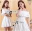 Lady Chloe Feminine Off-Shoulder Cotton and Lace Dress L188-75C08 thumbnail 2