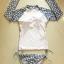 SM-V1-432 ชุดว่ายน้ำแขนยาว แขนเสื้อสีเทาลายจุดขาว กางเกงบิกินี่สีเทา (โบว์แต่งแกะออกได้) thumbnail 2
