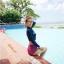 SM-V1-565 ชุดว่ายน้ำแขนยาว เสื้อสีน้ำเงิน กางเกงเอวสูงชมพูลายสวย thumbnail 3
