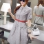 Lady Sara Minimal Asymmetric Grey Dress with Red Belt L250-69C09 thumbnail 5