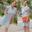 Lady Jill Geometry Flared-Sleeved Brocade Denim Dress L193-69C05 thumbnail 3