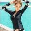 SM-V1-611 ชุดว่ายน้ำแขนยาว พื้นดำลายฟ้าชมพูสวยๆ เซ็ต 3 ชิ้น แขนยาวซิปหน้า+บราดำ+กางเกงขาสั้น thumbnail 1