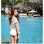 SM-V1-446 ชุดว่ายน้ำ เซ็ต 3 ชิ้น สีขาวครีม บรา+บิกินี่+เสื้อตาข่าย thumbnail 11