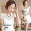 DR-LR-053 Lady Pure White Blossom Embroidery Gala Mini dress thumbnail 2