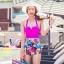 SM-V1-344 ชุดว่ายน้ำเอวสูง บราชมพูบานเย็น กางเกงลายดอกไม้สวยๆ thumbnail 1