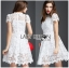Lady Gabriela Crystal Embellished Flower White Lace Dress L263-8909 thumbnail 3
