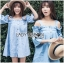 Lady Victoria Casual Chic Off-Shoulder Soft Denim Dress L264-6922 thumbnail 1