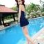 SM-V1-370 ชุดว่ายน้ำวันพีช สีน้ำเงินกรมท่า สายคล้องคอ กระโปรงระบายสวยๆ thumbnail 6