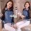 Lady denim long sleeve elegant chiffon True by Aris Code thumbnail 5