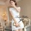 DR-LR-053 Lady Pure White Blossom Embroidery Gala Mini dress thumbnail 8