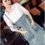 Lady Coco Cotton White Shirt with Denim Skirt Dress L202-69B10 thumbnail 3