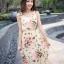 12511 แม็กซี่เดรสยาว แขนกุด สีขาว ลายดอกไม้สีโอรส thumbnail 4