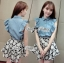 DS-PP-036 Lady Marry Ruffle Denim Shirt and Flowery Skirt Set thumbnail 6