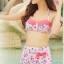 SM-V1-345 ชุดว่ายน้ำเอวสูง สีชมพูสวยลายดอกไม้ เซ็ต 2 ชิ้น บรา+กางเกง thumbnail 1