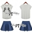 Lady Embroidered Horse Print Top and Denim Flared Skirt Set L120-75D15 thumbnail 6