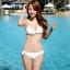 SM-V1-446 ชุดว่ายน้ำ เซ็ต 3 ชิ้น สีขาวครีม บรา+บิกินี่+เสื้อตาข่าย thumbnail 8