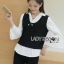 Emily Preppy Chic Black and White Cotton Top thumbnail 3