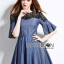 Lady Stella Smart Casual Black Lace and Denim Dress L255-79C12 thumbnail 6