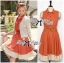 DR-LR-163 Lady Sasha Shirt Dress in Orange and White thumbnail 2