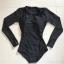 SM-V1-623 ชุดว่ายน้ำแขนยาววันพีช สีดำ ด้านข้างฉลุเส้นริ้ว (มีซิปด้านหลัง) thumbnail 2