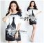 DR-LR-120 Lady Amy Indian Print Slouchy Dress in Black and White thumbnail 5