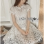 Lady Gabriela Crystal Embellished Flower White Lace Dress L263-8909 thumbnail 10