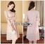 Lady Aliza Classic Vintage Plain Lace Dress with Belt L273-7909 thumbnail 8