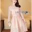 Lady Aliza Classic Vintage Plain Lace Dress with Belt L273-7909 thumbnail 5
