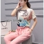 Lady Margie Playful Printed Top and Pink Ribbon Pants Set L261-7506 thumbnail 4