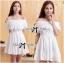 Lady Chloe Feminine Off-Shoulder Cotton and Lace Dress L188-75C08 thumbnail 1