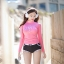 SM-V1-562 ชุดว่ายน้ำแขนยาวสีชมพูสวยหวาน กางเกงขาสั้นสีดำแต่งขอบขาว thumbnail 1