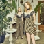 Dress คอปาด ระบายหน้าพร้อมผ้าพิมพ์ลาย ตัวเดรสผ้าลายริ้ว thumbnail 1