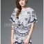 Lady Olivia Blue and White Flower Laser-Cut Cropped Top and Shorts Set L264-7904 thumbnail 4