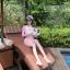 SM-V1-498 ชุดว่ายน้ำแขนยาวสีชมพูขาว เสื้อเปิดร่องอกเซ็กซี่ (เสื้อแขนยาว+บิกินี่) thumbnail 4