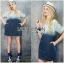 Lady Marina Cut-Out Pearl Embroidered Ombre Denim Dress L262-7908 thumbnail 4