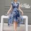 Korea Cocktail Dresses blue floral print by Aris Code thumbnail 6
