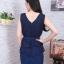 Dress ผ้าซาร่า แต่งผ้ามุ้งเย็บกุน2ชั้นมีสายผูกเอว thumbnail 4