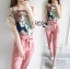 Lady Margie Playful Printed Top and Pink Ribbon Pants Set L261-7506 thumbnail 7