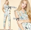 Lady Lilly Pastel Floral Printed Sleeveless Jumpsuit L151-75E09 thumbnail 2