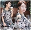 Lady Rachel Print on Print Cut-Out Dress L242-79C04 thumbnail 1