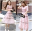 Lady Carly Feminine Pinky Striped Lace Maxi Dress L268-7902 thumbnail 12